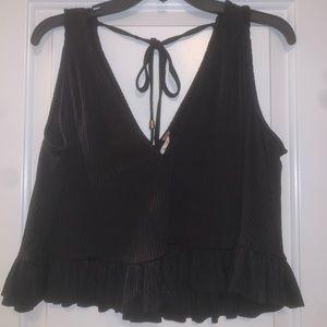 Free people swing top-black silk ruffled material